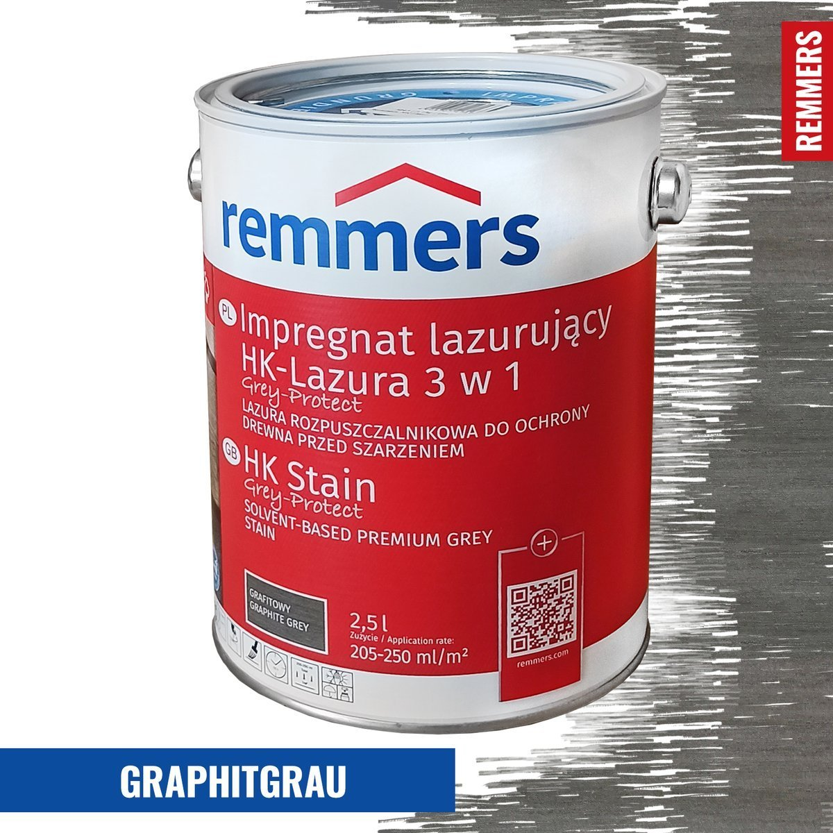 remmers hk lasur grey protect 2 5 l grafitowoszary. Black Bedroom Furniture Sets. Home Design Ideas